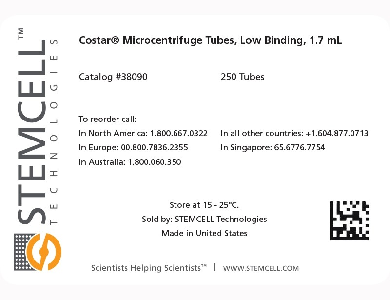 Label for Costar® Microcentrifuge Tubes