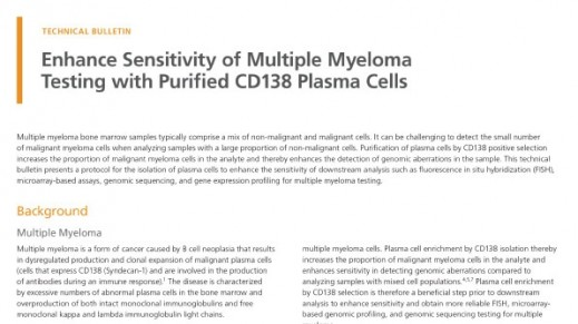 Enhance Sensitivity of FISH Analysis with Purified Multiple Myeloma Cells