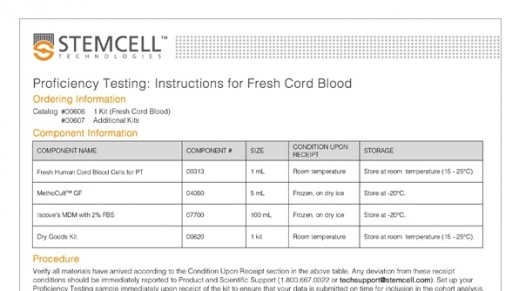 Fresh Cord Blood Worksheet