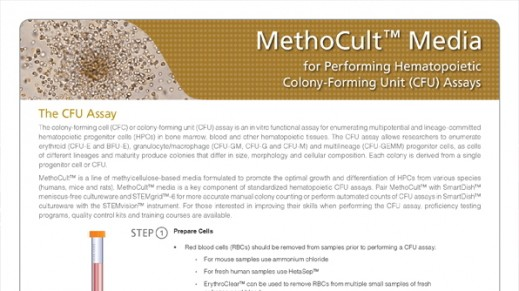 MethoCult™ Media for Performing Hematopoietic Colony-Forming Unit (CFU) Assays