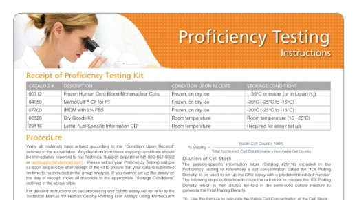Frozen Cord Blood Proficiency Testing Worksheet