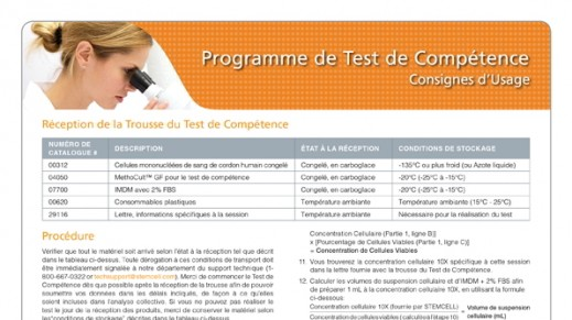 Frozen Cord Blood Proficiency Testing Worksheet (French)