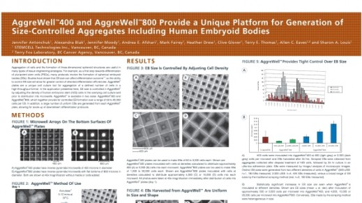 Aggrewell™400 and Aggrewell™800 Provide a Unique Platform for Generation of Size-Controlled Aggregates Including Human Embryoid Bodies