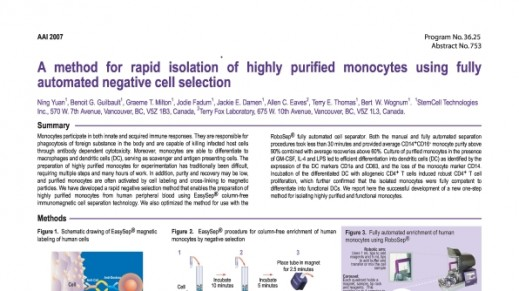 Cell Isolation of Highly Purified Monocytes Using Fully Automated Negative Cell Selection