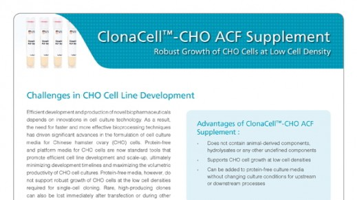 ClonaCell™-CHO ACF Supplement: Boost Cell Growth at Low Density in Protein-Free Media