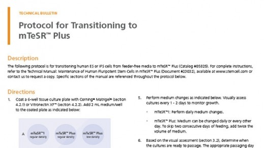 Protocol for Transitioning to mTeSR™ Plus