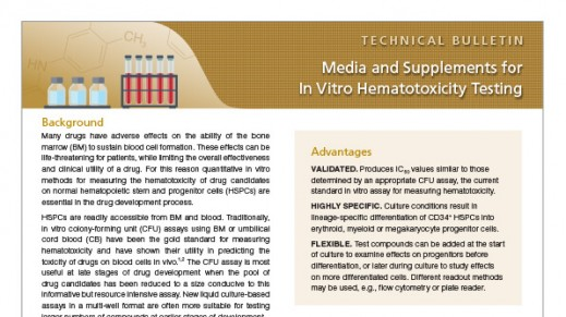 Media and Supplements for In Vitro Hematotoxicity Testing