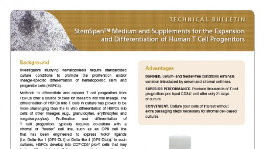 StemSpan™ Medium and Supplements for the Expansion and Differentiation of Human T Cell Progenitors