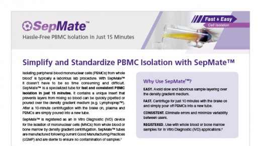 SepMate™ Hassle-Free PBMC in Just 15 Minutes