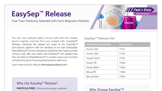 EasySep™ Release Free Your Positively Selected Cells from Magnetic Particles